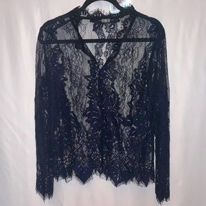 REWASH Lace V-Neck Long Sleeve Blouse Size Medium